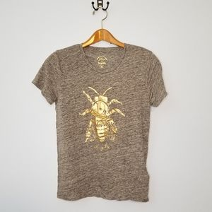 J. Crew Honey Bee Bug Life Graphic Tshirt Gray